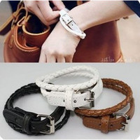 the leather type strap bracelet, femal bracelet. leather bra...