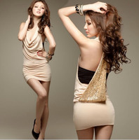 Wholesale Nightclub party super sexy halter hanging collar sequined halter Slim mini dress women dress M75