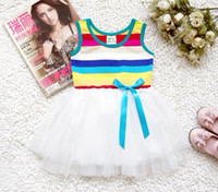 Wholesale Children dress Girls cotton lace striped dress medium top grade