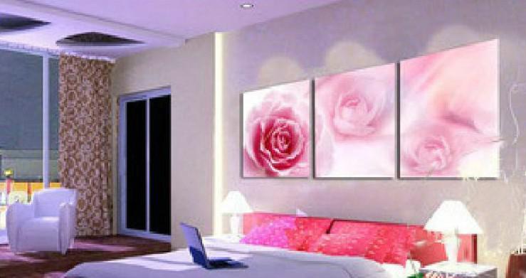2017 romantic pink rose oil painting canvas flower artwork wedding