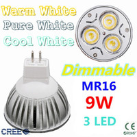 Wholesale China Led Lights Retail - Retail CREE MR16 9W 12W 15W led Light Lamp Dimmable 3 Leds Bulb Downlight led bulbs free China post air mail