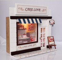 Wholesale DIY Wooden Dollhouse Miniatures DIY Cake Love Shop kits NICE GIFT Cute Handwork