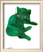 Oil Painting andy warhol cat - Modern Art Green Cat c by Andy Warhol oil painting Canvas High quality Hand painted