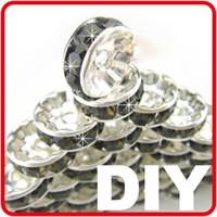 Wholesale Hot DIY Black Crystal Rhinestone Spacer Beads Handmade Bead fit Basketball Wives Earrings