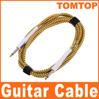 Wholesale 3M ft Yellow Cloth Braided Tweed Guitar Cable Cord I39