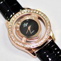 Wholesale 50pcs newest Cupid heart dial diamond case leather bracelet watch fashion women wrist watch