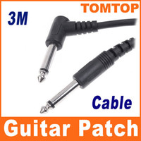 Wholesale 3M ft Black Leather Covered Instrument Guitar cable Amp Cable Cord I40
