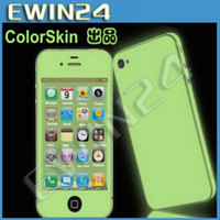 Wholesale 100x New Green Light Sticker for iPhone4 S Without AppleLogo Glow Sticker Grow In The Dark by DHL