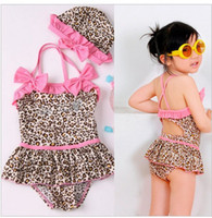 Cheap girl 2-piece leopard Swimwe zebra print girls swimsuit swim pool itemsbath kids baby swimwear,coats,