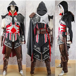 Wholesale Assassin s Creed II Black Costume Cosplay Party Ezio Anime Set S M L XL XXL