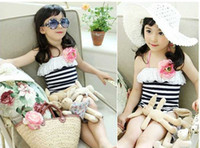 Wholesale 2016 Hot spring swimming suit girls swimsuit three piece sets with flower children kid swimwear bathing suit fit year