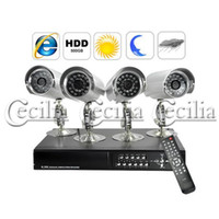 Wholesale 4 CH Full Surveillance Recorder night vision Security Camera DVR Kit Waterproof Cameras GB HDD