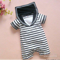 baby sailor outfit - Sample Infant toddler baby boy s sailor romper onesies short sleeve summer sailor stripe jumpsuit shorts cotton pajamas PJ S outfits pc