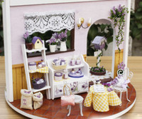 Wholesale DIY Wooden Dollhouse Miniatures DIY Kits Lavender Story Garden Kits CUTE Gift