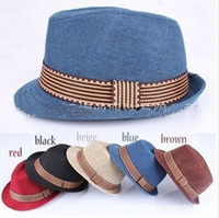 Wholesale new Baby kids children s Caps accessories headwear linen fedora hat caps fedora year colors