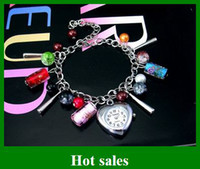 Wholesale sample order hot sales bracelet watch quartz Colored glass wrist Watches