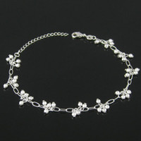Wholesale Jewellry Silver Anklets Anklets For Women Barefoot Sandals Grind Arenaceous Bead Ankle Bracelet