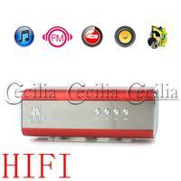 Wholesale Hi RiCE SD Mini HiFi Portable Card Reader Speaker with USB Flash Drive Micro SD FM Radio Red