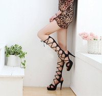 Wholesale NEWEST summer sexy temptation woman cool boots hollow high heeled waterproof bandage Roman sandals
