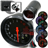 Wholesale 5 quot RpmGauge SUPER THIN CARBON RIM Tachometer COLOR LED DISPLAY AUTO GAUGE CAR METER AUTO METER