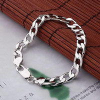 Wholesale Luxury womens unisex solid K white gold filled bracelet heavy chain shining party jewel gift new