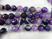 Wholesale 10mm purple faceted fire agate round beads Semi precious stone beads