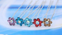 Wholesale Wedding Bridal hairpins Jewelry crystal hairpin multicolor Flower Hairpins U31