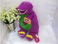 barney patterns - Cute Barney s Cartoon Pattern Backpack Plush Doll Barney bag purple dinosaur sesame street plush
