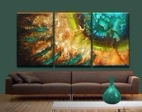 Wholesale 3PC Green canvas Vase of Lotus flowers oil painting on canvas no framed