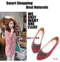 Wholesale Special Promotions NEWEST womens fashion Rivets pointed flat beaded shoes size US
