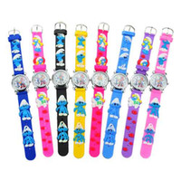 Wholesale 8Pcs Cute Smurfs Design Kids Watch Round Dial Silicone Band Quartz Movement Wrist Watch