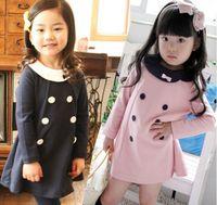 New Girls Dresses Lapel Long Sleeve Lovely Dress 5pcs(diffre...