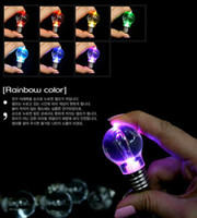 Wholesale Novelty LED Light Bulb Shaped Keychain Flashlight Color changing Led Ring Keychain