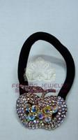 Wholesale Rhinestone elastic band APPLE shape colorful crystal stretchy hair clip bridal jewelry