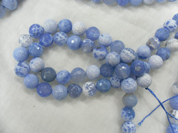 Wholesale 10mm light blue faceted fire agate round beads Semi precious stone beads