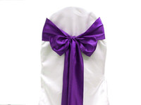 banquet quality chair covers - 25pcs Purple Satin Chair Sashes Chair Cover Bow Wedding Party Banquet Sash High Quality New