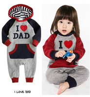 Wholesale I love Dad papa mom Baby rompers Baby long sleeved romper baby jumpsuits bodysuits baby wear RR010