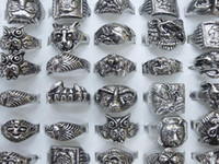 Wholesale New style skull carved biker men silver tone rings jewelry mm free