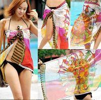 Long Chiffon Man 2012 New Chiffon Sarong Women's Chiffon Swim Wear Beach scarves Bikinis Mix Designs DHL free