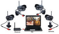 Infrared Waterproof / Weatherproof Black Wireless 4ch Digital Camera USB DVR + 4 x Wireless CCTV Cameras Security System Kit IR Color