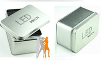 Wholesale 100pcs Most popular square High quality Stainless steel LED watch box Fashion watch silver box