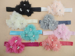 Queen Baby Triple Tulle Headbands Matching Rhinestone Pearl Nylon Baby Hair Bands Newborn Photography Props 120pcs lot