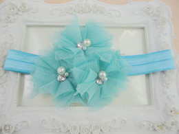 Trial order Triple Tulle Headbands Matching Pearl Rhinestone Baby Flower Nylon Hair Band 20pcs lot QueenBaby