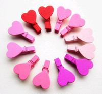 Wholesale Free Piece Mixed Korean Countryside Heart Shape Memo Clip Wooden Stationery Wedding Message Clip