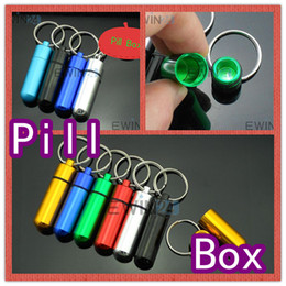 Wholesale 1000PCS x50mm Waterproof Mini Aluminum Pill Box Case Bottle Container Drug Holder Keychain Hot Sale Ewin24