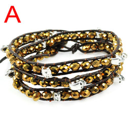 skull wrap bracelet with faceted Crystal beads inlay 3colors.BR-1308