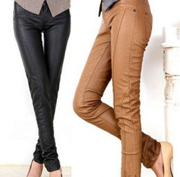 Wholesale Pants women pants black kakhi pants fashion PU leather pants long pants high quality