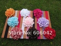 Wholesale 50pcs Baby Elastic Headbands soft stetch headband with quot satin flowers rosette flowers free shi
