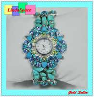 Wholesale New design fashion steel bracelet watch crystal rhinestone quartz watch