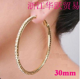Wholesale Basketball wives hoop earrings crystals Gold polish women earring row mm